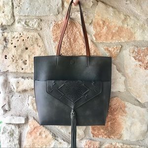 New! Anthropologie Tote and Clutch Combo in Black